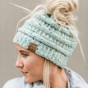 C.C Ponytail Confetti Beanie in MINT